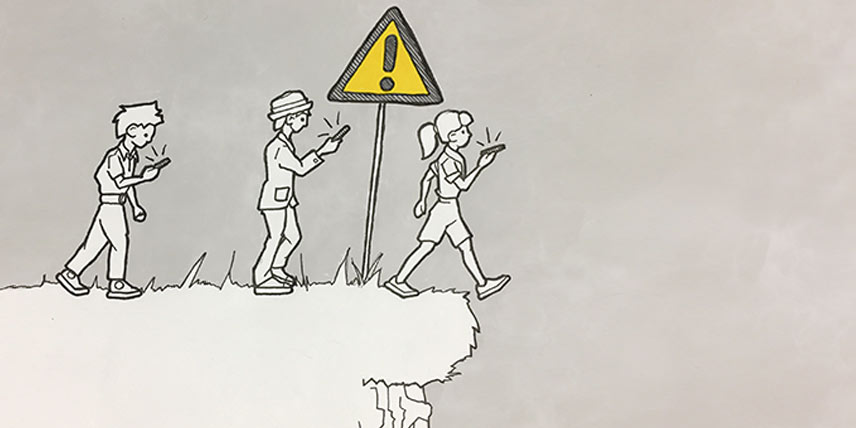 Cartoon illustration of people concentrating on mobile phones walking towards a cliff edge