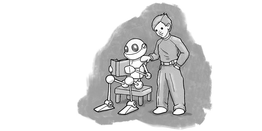 Illustration of man standing with a robot reading a book