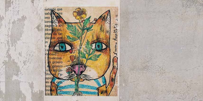A painting of a cat with writing around it: artwork inspiring descriptive writing